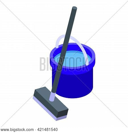 Mop Floor Cleaning Icon. Isometric Of Mop Floor Cleaning Vector Icon For Web Design Isolated On Whit