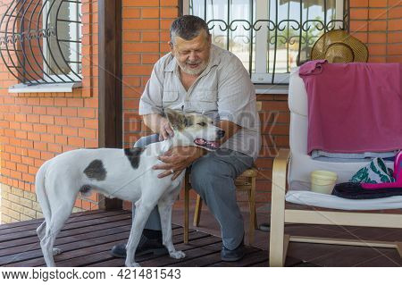 Outdoor Portrait Of Bearded Caucasian Senior Man Stroking His White Mixed Breed Dog While Sitting On