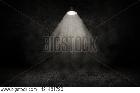 The Dark Stage Is Illuminated By A Spotlight. White Smoke. Background. Bright Beams Of A Spotlight.