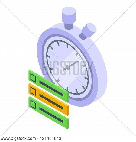 Task Schedule Stopwatch Icon. Isometric Of Task Schedule Stopwatch Vector Icon For Web Design Isolat