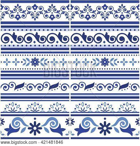 Lisbon Style Azulejo Tile Seamless Vector Border Or Fram Pattern Collection, Retro Navy Blue Design