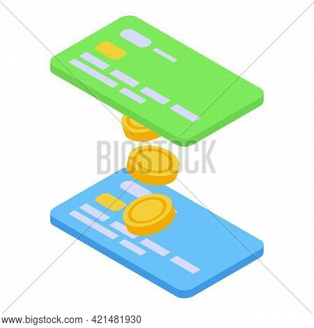 Credit Card Money Transfer Icon. Isometric Of Credit Card Money Transfer Vector Icon For Web Design