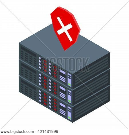 Server Reject Ssl Certificate Icon. Isometric Of Server Reject Ssl Certificate Vector Icon For Web D