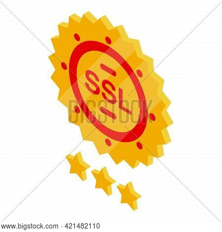 Emblem Ssl Certificate Icon. Isometric Of Emblem Ssl Certificate Vector Icon For Web Design Isolated
