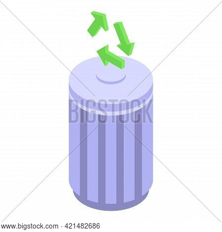 Recycle Bin Backup Icon. Isometric Of Recycle Bin Backup Vector Icon For Web Design Isolated On Whit