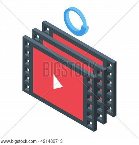 Video Files Backup Icon. Isometric Of Video Files Backup Vector Icon For Web Design Isolated On Whit