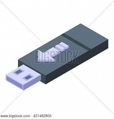 Usb Flash Backup Icon. Isometric Of Usb Flash Backup Vector Icon For Web Design Isolated On White Ba