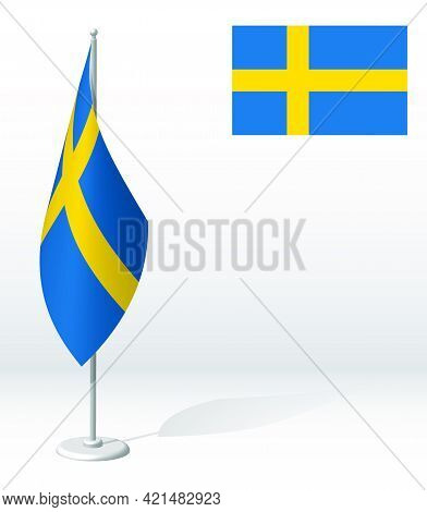 Sweden Flag On Flagpole For Registration Of Solemn Event, Meeting Foreign Guests. National Independe