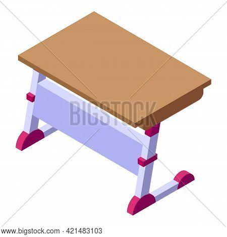 Ergonomic School Table Icon. Isometric Of Ergonomic School Table Vector Icon For Web Design Isolated