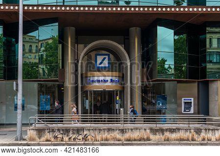 Palma De Mallorca, Spain; May 19 2021: Main Facade Of The Deutsche Bank Headquarters In The City Of