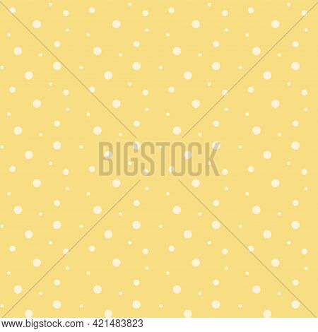 Seamless Vector Pattern With White Polka Dots On Yellow Background. Design For Fabric.