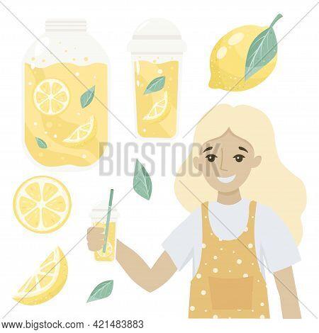 Woman Selling Tasty Drinks. Glass, Fresh Lemonade With Yellow Lemon, Fruit Slice And Drops.