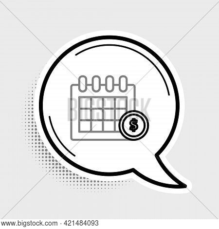 Line Financial Calendar Icon Isolated On Grey Background. Annual Payment Day, Monthly Budget Plannin
