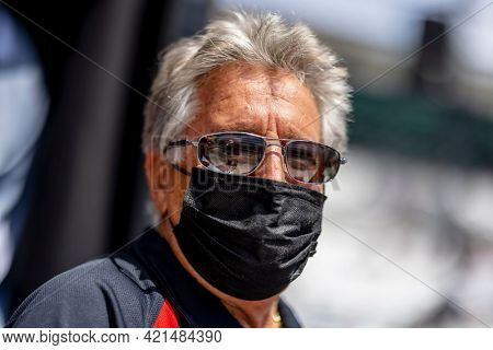 May 21, 2021 - Indianapolis, Indiana, USA: IndyCar Team Owner, Mario Andretti watches as his teams prepare to race for the 105th Running Of The Indianapolis 500 at Indianapolis Motor Speedway