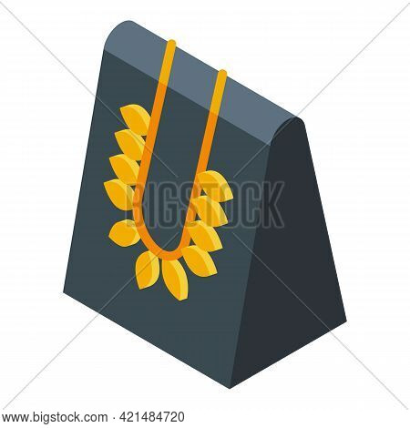 Gold Leaves Jewelry Dummy Icon. Isometric Of Gold Leaves Jewelry Dummy Vector Icon For Web Design Is