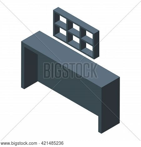Black Bar Counter Icon. Isometric Of Black Bar Counter Vector Icon For Web Design Isolated On White