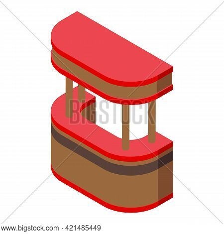 Street Bar Counter Icon. Isometric Of Street Bar Counter Vector Icon For Web Design Isolated On Whit