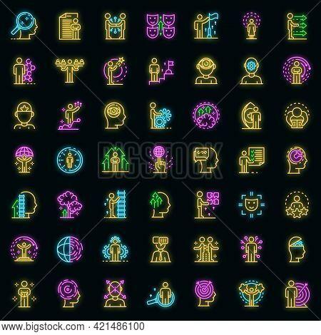 Life Skills Icons Set. Outline Set Of Life Skills Vector Icons Neon Color On Black