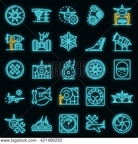 Aircraft Repair Icons Set. Outline Set Of Aircraft Repair Vector Icons Neon Color On Black
