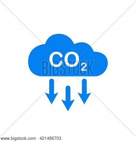 Co2 Icon. Emissions Reduction Of Carbon Gas. Blue Cloud Of Co2 Gas. Decrease Pollution Icon. Carbon