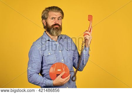 Outdated Technology. Manager Phone Dialog Communication. Answering Machine. Bearded Hipster Man Phon