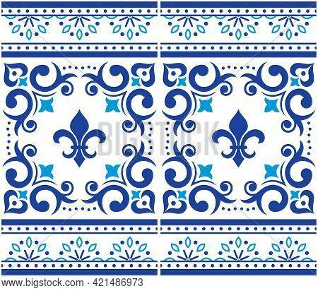 Azulejo Tiles Seamless Vector Pattern - Lisbon Luxury Style, Ornamental Design With Border Or Frame