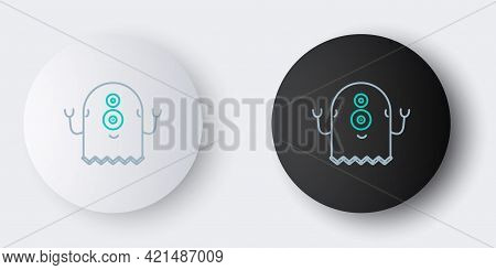 Line Alien Icon Isolated On Grey Background. Extraterrestrial Alien Face Or Head Symbol. Colorful Ou