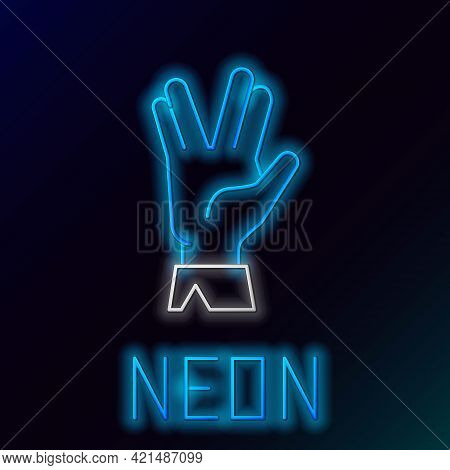 Glowing Neon Line Vulcan Salute Icon Isolated On Black Background. Hand With Vulcan Greet. Spock Sym