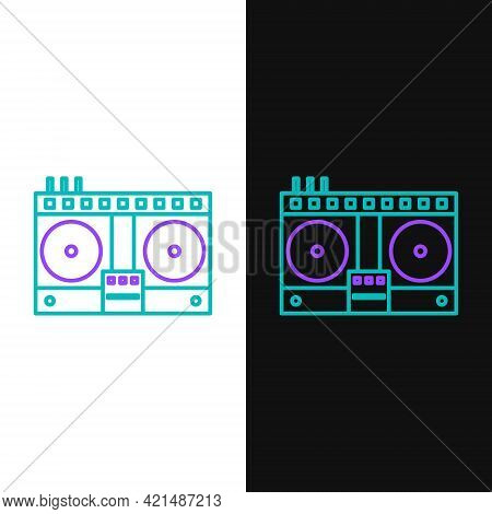 Line Dj Remote For Playing And Mixing Music Icon Isolated On White And Black Background. Dj Mixer Co