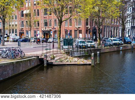 28 April, 2021, Amsterdam Netherlands, The Homomonument  Memorial, Commemorates All Gay Men And Wome