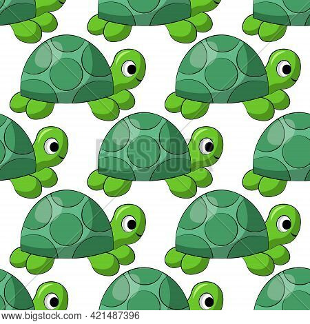 Seamless Vector Pattern With Cute Cartoon Turtle