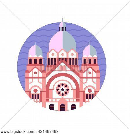 Novi Sad Synagogue Building Icon In Flat