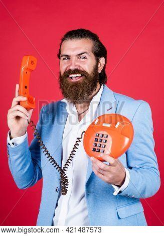 Well Groomed Man In Wedding Formalwear Has Beard Use Retro Phone, Call