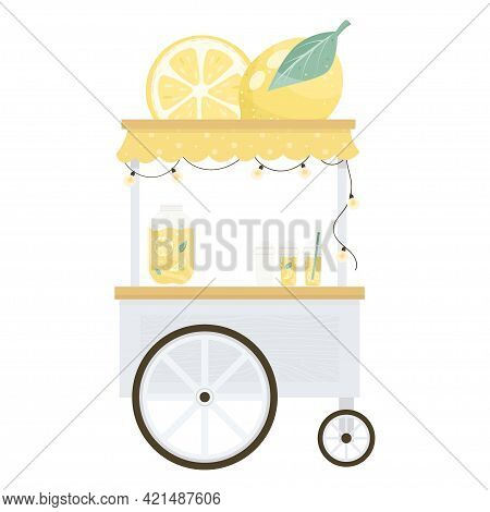 Lemonade Stands Flat Style Citrus Bushes. Street Drink Truck. Refreshing Drinks.