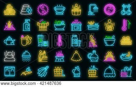 Sauna Icons Set. Outline Set Of Sauna Vector Icons Neon Color On Black