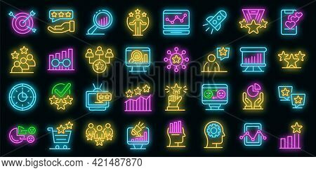 Reputation Icons Set. Outline Set Of Reputation Vector Icons Neon Color On Black