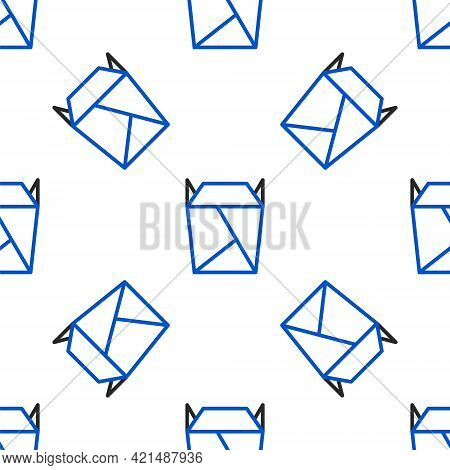 Line Chinese Restaurant Opened Take Out Box Filled Icon Isolated Seamless Pattern On White Backgroun
