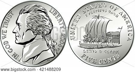 American Money, Usa Five-cent Coin With Us Third President Thomas Jefferson On Obverse And Keelboat