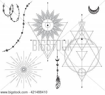 Vector Set Of Black And White Mystical Elements Isolated On White Background. Sacred Symbols, Beads,