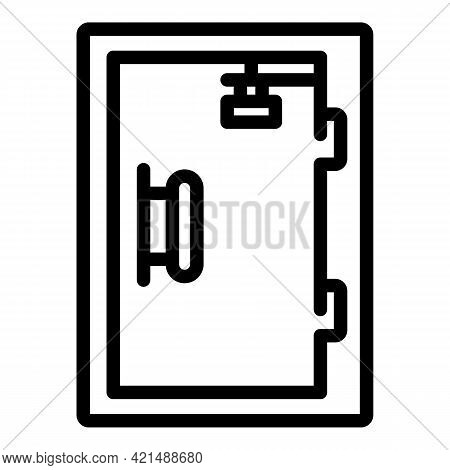 Human Evacuation Door Icon. Outline Human Evacuation Door Vector Icon For Web Design Isolated On Whi