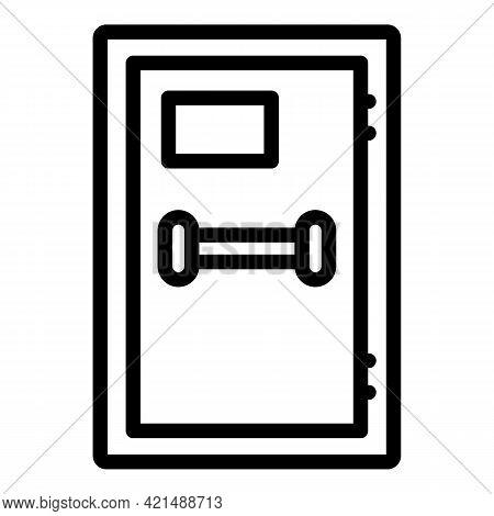 Human Evacuation Exit Door Icon. Outline Human Evacuation Exit Door Vector Icon For Web Design Isola