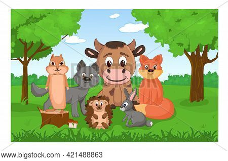 Set Of Cute Forest Animals In The Forest. Collection Of Mammals In Cartoon Style. Children Illustrat