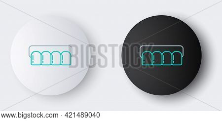 Line Dentures Model Icon Isolated On Grey Background. Teeth Of The Upper Jaw. Dental Concept. Colorf