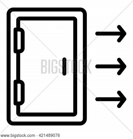 Open Evacuation Door Icon. Outline Open Evacuation Door Vector Icon For Web Design Isolated On White