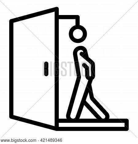 Walk Through Evacuation Door Icon. Outline Walk Through Evacuation Door Vector Icon For Web Design I