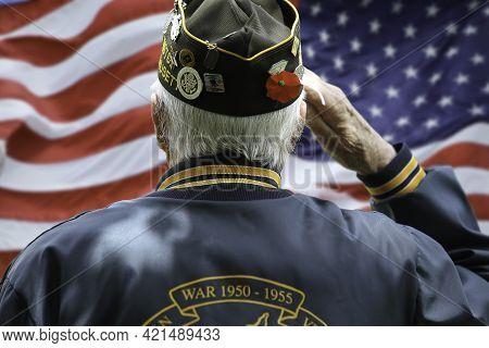 Veteran\'s Saluting  In Front Of Us Flag On Memorial Day