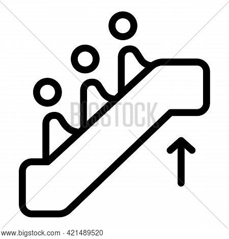 Escalator Stairs Icon. Outline Escalator Stairs Vector Icon For Web Design Isolated On White Backgro