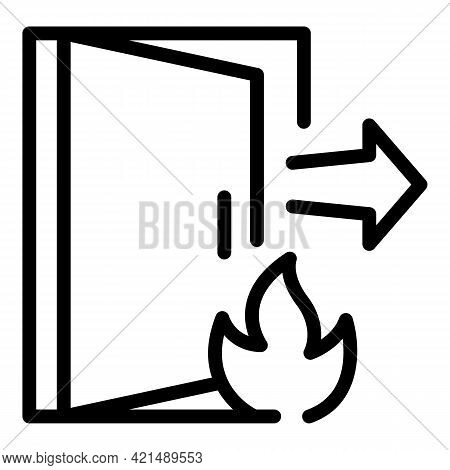 Fire Evacuation Icon. Outline Fire Evacuation Vector Icon For Web Design Isolated On White Backgroun