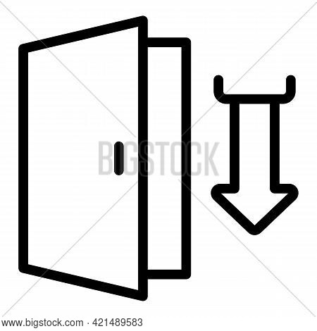 Wood Door Evacuation Icon. Outline Wood Door Evacuation Vector Icon For Web Design Isolated On White
