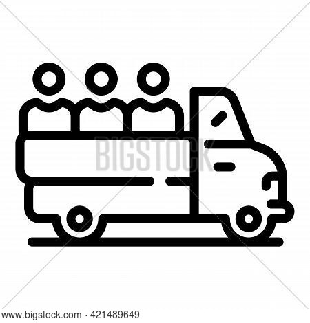 Truck Evacuation Icon. Outline Truck Evacuation Vector Icon For Web Design Isolated On White Backgro